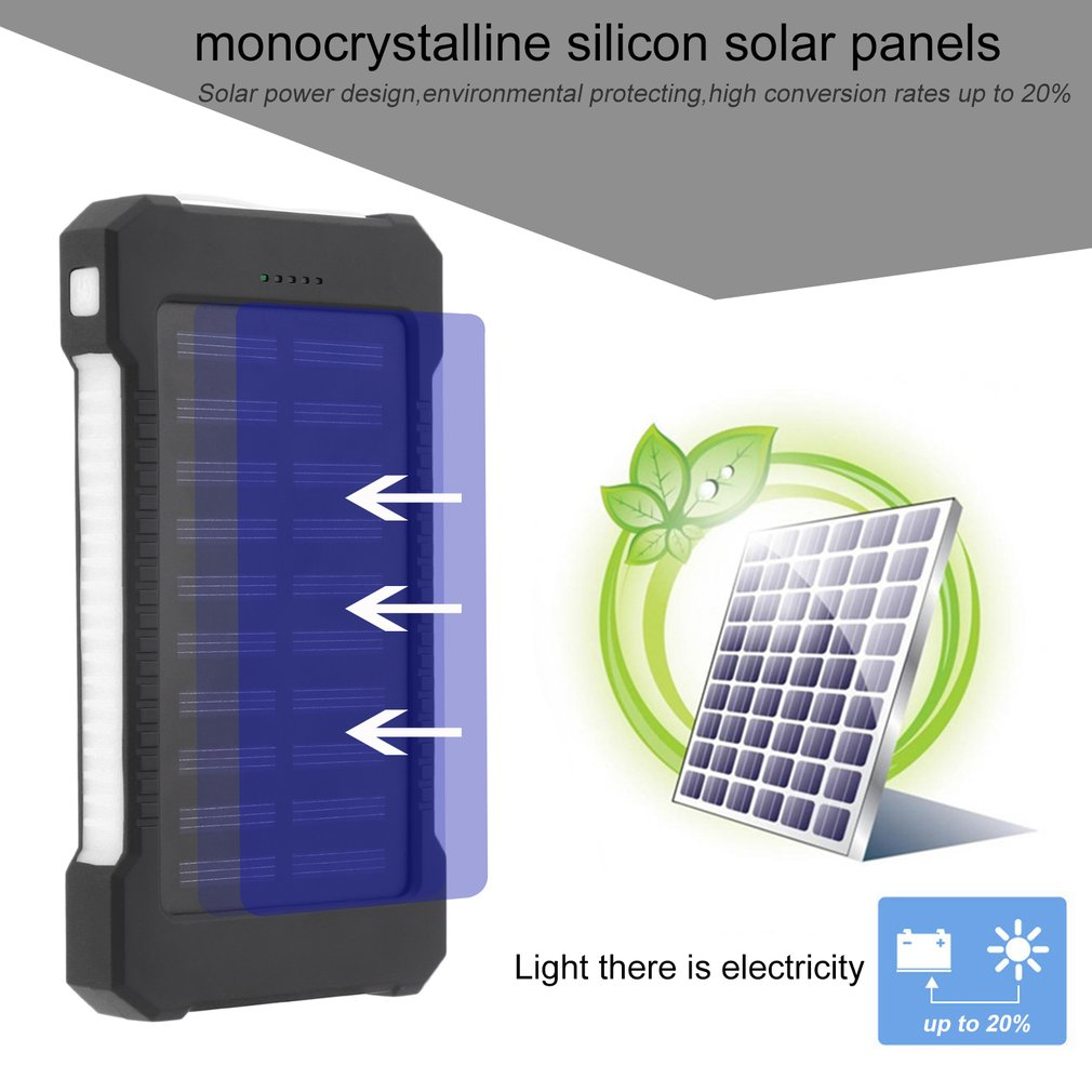 300000mAh Dual USB Compact Portable Solar Power Bank Battery Charger Mobile Phones External Battery Charger