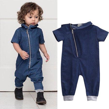 2234bc90ece2 Nituyy - Newborn Kids Baby Boy Romper Denim Zipper Bodysuit Jumpsuit Clothes  Outfits - Walmart.com