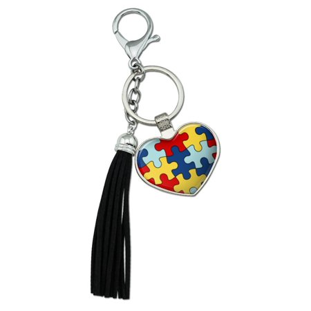 - Autism Awareness Diversity Puzzle Pieces Chrome Plated Metal Heart Leather Tassel Keychain