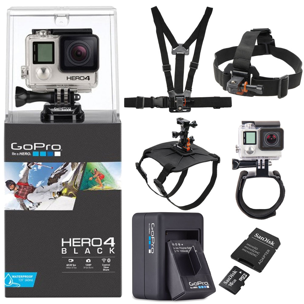 GoPro Hero4 Action Camcorder Black with All in 1 dog/Ches...