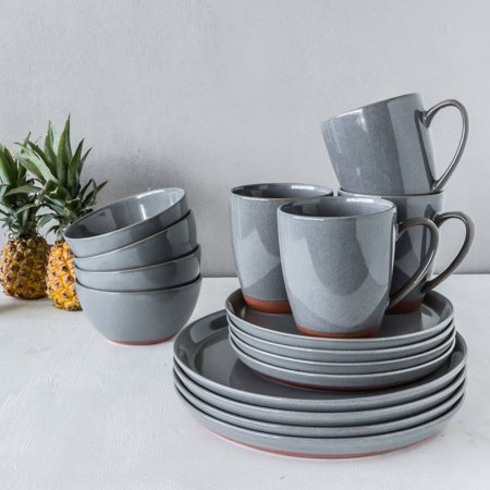 Better Homes And Gardens Claybrooke Stoneware Gray 16 Piece Dinnerware Set