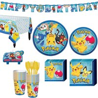 Pokemon Core Birthday Party Kit, Includes Banner and Candles, Serves 16