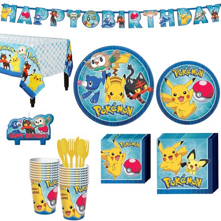 Pokemon Core Birthday Party Kit, Includes Banner and Candles, Serves