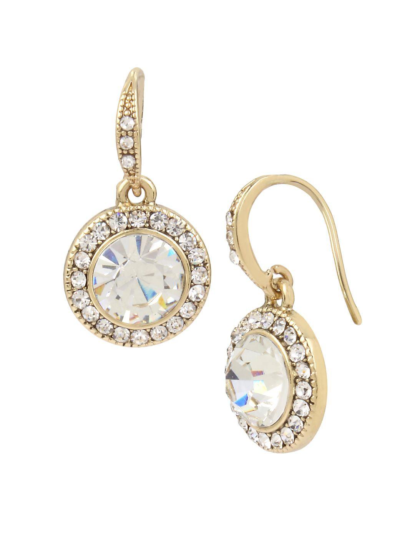 Basic Ears Circle Crystal Drop Earrings