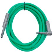 """Seismic Audio  - 10' Green Guitar Cable TS 1/4"""" to Right Angle - Instrument Cord - SAGC10R-Green"""