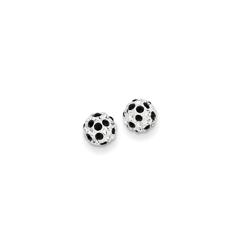14k Yellow Gold Black and White Crystal 6mm Post Stud Earrings.