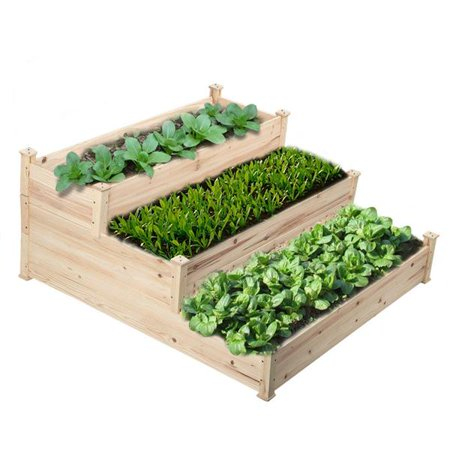 SmileMart 3-Tier Wooden Raised Elevated Garden Bed Planter Box Kit Flower Vegetable