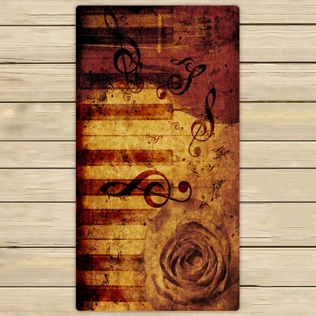 - PHFZK Vintage Retro Flower Floral Rose Towel, Music Notation Hand Towel Bath Bathroom Shower Towels Beach Towel 30x56 inches