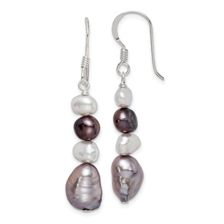 925 Sterling Silver White Grey Freshwater Cultured Pearl Drop Dangle Chandelier Earrings Gifts For Women For Her