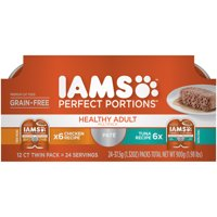 (12 Pack) IAMS PERFECT PORTIONS Healthy Adult Grain Free Wet Cat Food Pat Variety Pack, Chicken Recipe and Tuna Recipe, 2.6 oz. Easy Peel Twin-Pack Trays