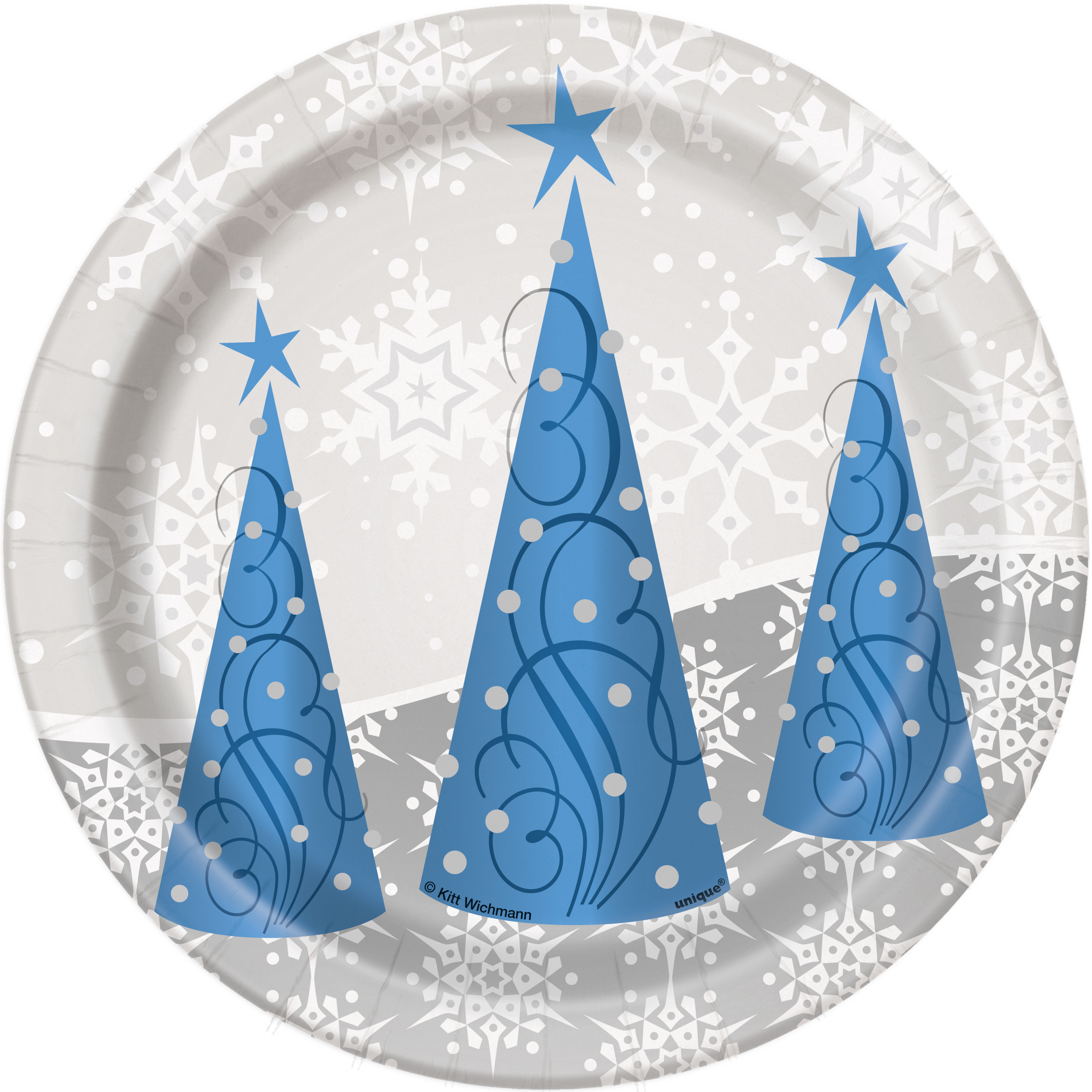 "7"" Silver Snowflake Christmas Paper Dessert Plates, 8ct"