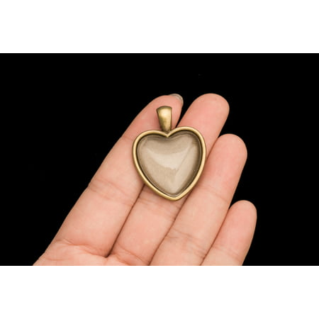 Memorial Photo Locket Heart Antiqued Brass Locket Photo Case Cameo Cover 10 (Porcelain Cameo Brass)