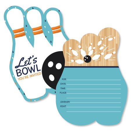 Strike Up the Fun - Bowling - Shaped Fill-In Invitations - Birthday Party or Baby Shower Invitation - 12 Ct