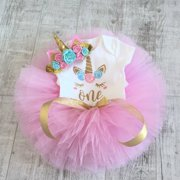 3Pcs Newborn Baby Girls Unicorn 1st Birthday Onesie Romper Tops Pink Tulle Tutu Skirt Dress Outfit Clothing Set