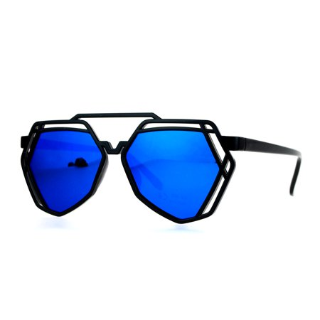 SA106 Womens Mirror Lens Art Deco Plastic Aviator Sunglasses Blue - Devo Sunglasses