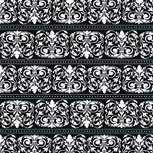 Sophisticated Formal Affair Gift Wrap with Hang Tab A Damask Design That Works for Any Occasion, 5 x 30', White/Black