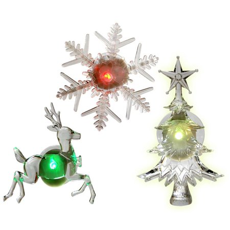 holiday window decorations assorted set of 3 reindeer christmas tree and snowflake - Battery Operated Christmas Decorations
