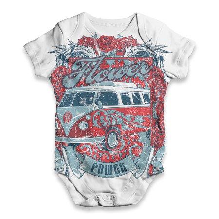 Baby Unisex ALL-OVER PRINT Baby Grow Bodysuit Flower Power Hippie Bus Baby Romper - Hippie Babe