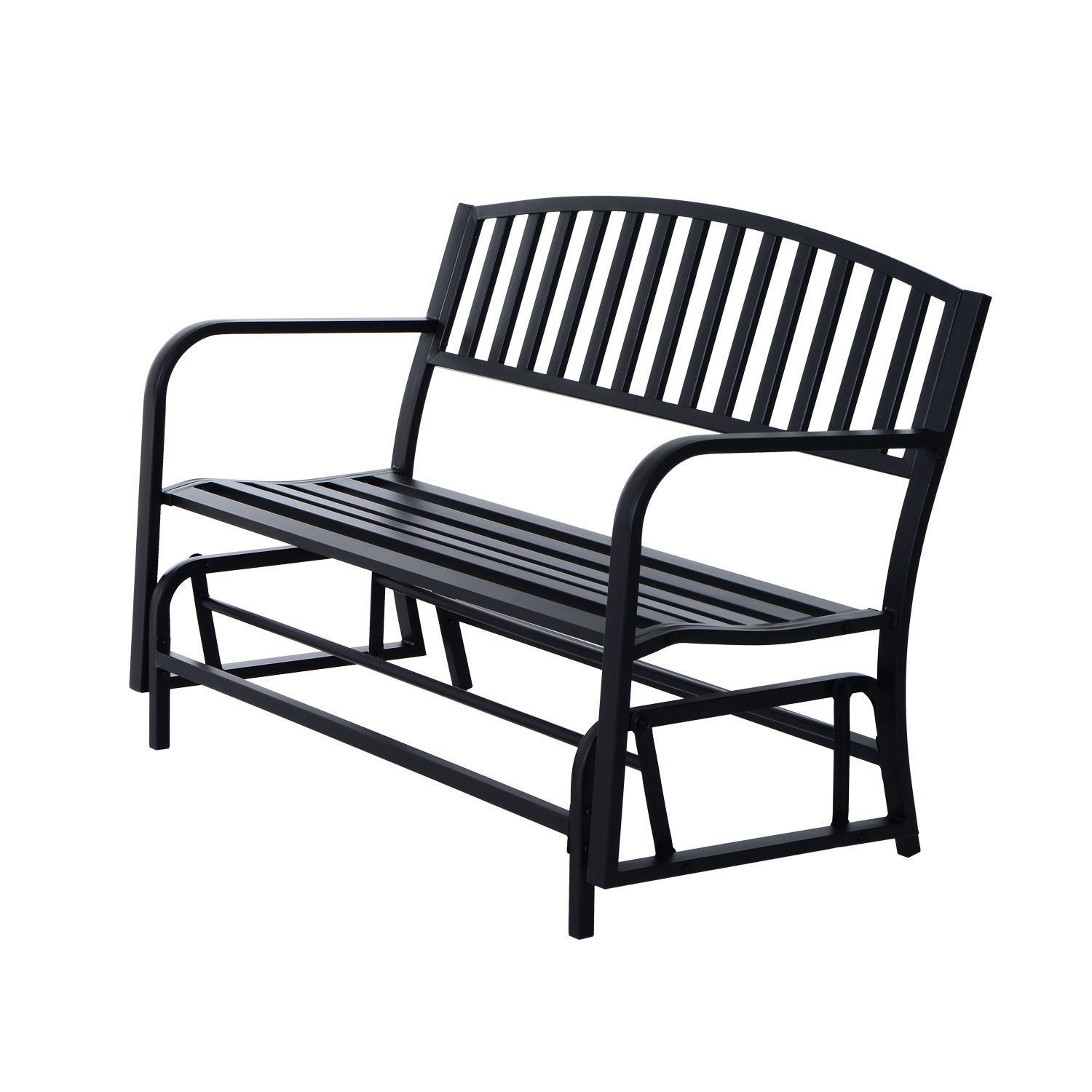"GHP Outdoor 50.5""Wx26""Dx35""H Powder Coated Steel Freestanding Swing Glider Bench"