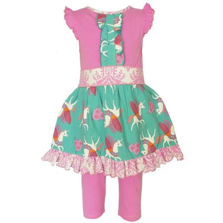 AnnLoren Girls Boutique Pink Unicorn Dress and Capri Clothing - Girls Boutique Dress