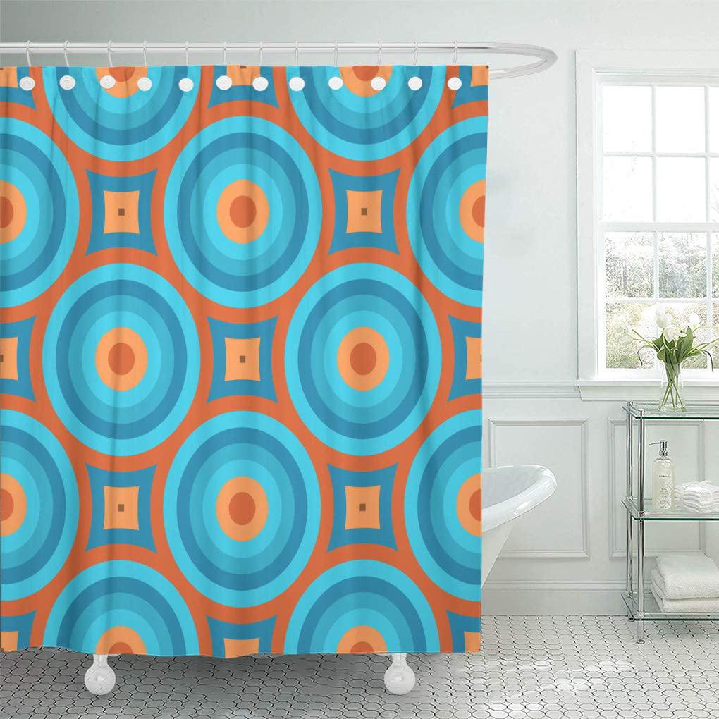 Cynlon Pattern Geometric Vintage Retro 60s 80s 70s Abstract Circles Curves Bathroom Decor Bath Shower Curtain 60x72 Inch Walmart Com Walmart Com