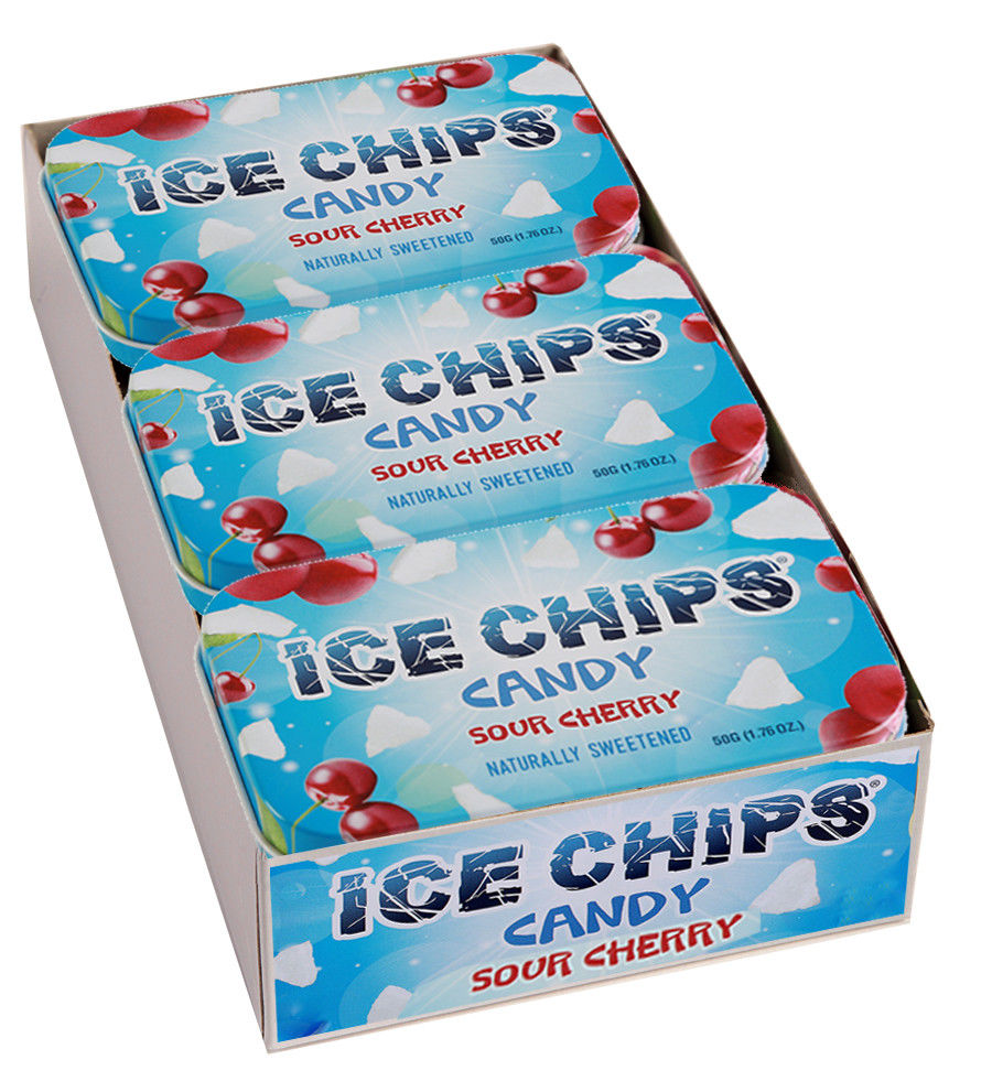 ICE CHIPS Xylitol Mints 6 Single Tins - Sour Cherry