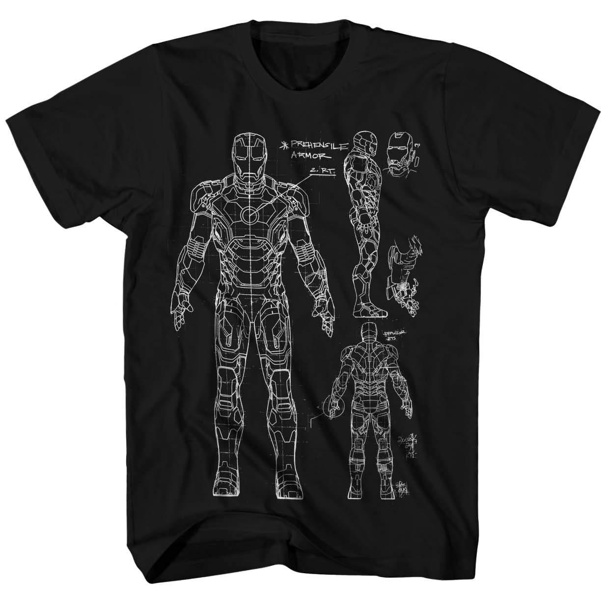 Iron Man 3 Blueprint-M Black T-Shirt   2XL