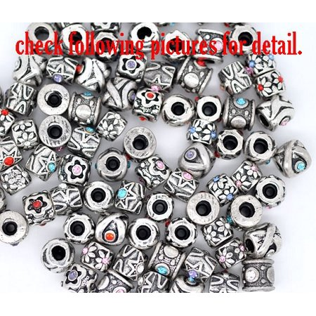 Pack of Ten (10) European Style Assorted Crystal Rhinestone Charm (Crystal European Style Beads)
