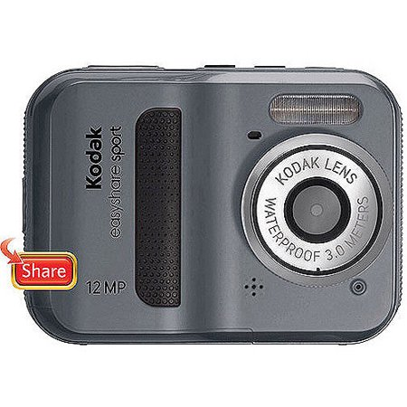 Kodak EasyShare Sport C123 Grey 12MP Digital Camera, 2.4  LCD Display Kodak EasyShare Sport C123 12MP Digital Camera:12 megapixel resolutionDelivers excellent picture qualityKodak zoom lensFeatures a 5x advanced digital zoom2.4  TFT LCD displayEnjoy easy focus selection and photo viewingAVI movie file format2.4  TFT LCD displayEnjoy easy focus selection and photo viewingAVI movie file formatRecord movies with VGA quality on this compact camera9 scene modesWaterproof up to 10'Shoot photos and videos up to 10' underwaterMemory Card Specifications: Compatible SD/SDHC memory cardsInternal Memory: 32MB1 SD/SDHC Slot