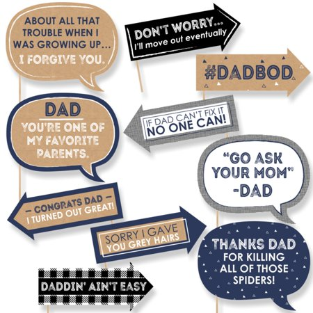 Funny My Dad is Rad - Father's Day Photo Booth Props Kit - 10 Piece (Daddy To Be Corsage)