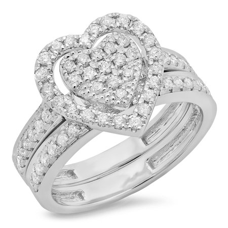 Dazzlingrock Collection 0.40 Carat (ctw) Sterling Silver Round Diamond Heart Shaped Bridal Engagement Ring Set, Size 5.5 - Heart Shaped Bridal Set