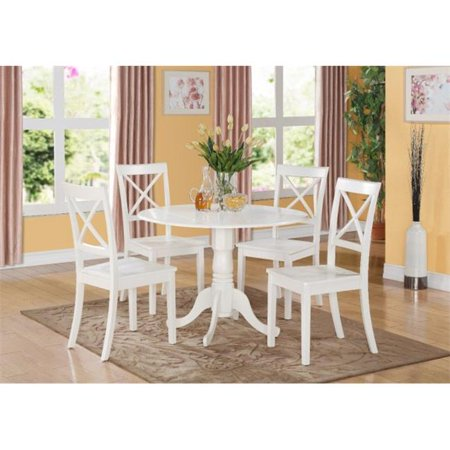 5PC Kitchen Round Table with 2 Drop Leaves and 4 X -back Chairs with wood Seat ()
