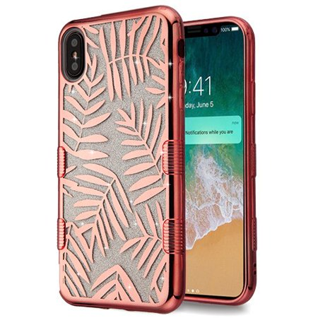 Apple iPhone Xs Max (6.5 in) Phone Case Slim TUFF HYBRID Bling Glitter Candy Silicone Rubber Gel Hard Electroplating Protective Case Cover Dancing Palm Rose Gold Phone Case for Apple iPhone Xs Max (Palm Protective Case)