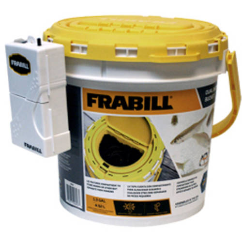 Frabill Dual Bait Bucket with Clip on Aerator and Storage Compartment Built in the Lid