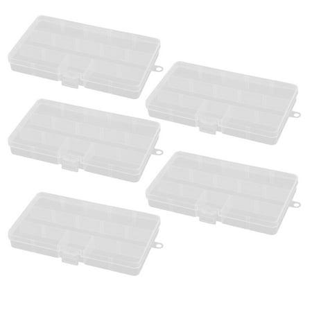 Dorm Desktop Plastic 5 Compartments Earings Pills Ring Storage Case Box 5pcs