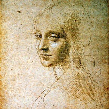 Study for the Angel of the Virgin of the Rocks Renaissance Figurative Female Portrait Art Print Wall Art By Leonardo da Vinci - Renaissance Garb For Sale