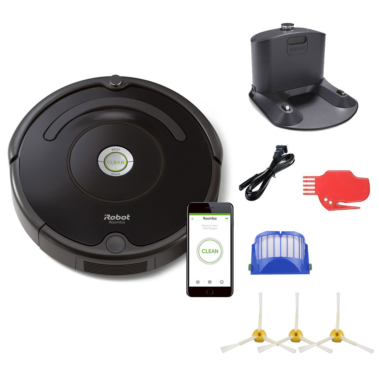 Irobot Roomba 675 Robot Vacuum And Wi Fi Bundle With 3 Extra Side Brushes 8 Items Walmart Com Walmart Com