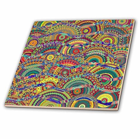 3dRose Chevron in a Field of Circles Abstract by Angelandspot - Ceramic Tile, 4-inch