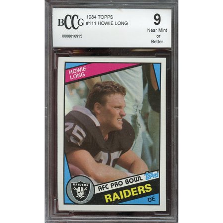 1984 Topps  111 Howie Long Los Angeles Raiders Rookie Card Bgs Bccg 9