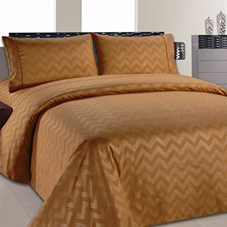 Beverly Hills Chevron Collection 1800 Series Ultra Soft Wrinkle Resistant Solid Color Sheet Set (Twin, Sand