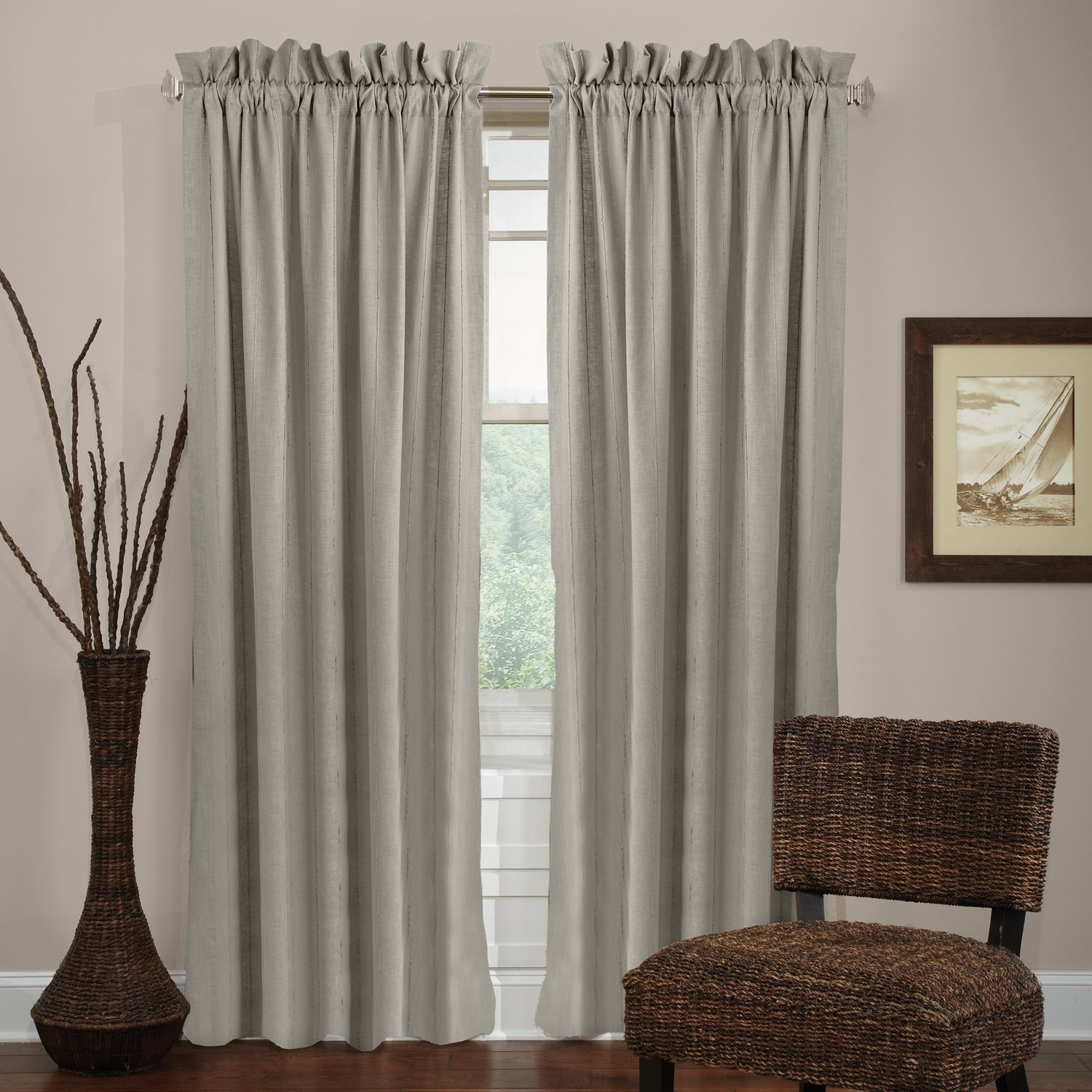 Veratex Madison 100% Linen Grommet Window Panel Made in the USA, 96-Inch, Sage