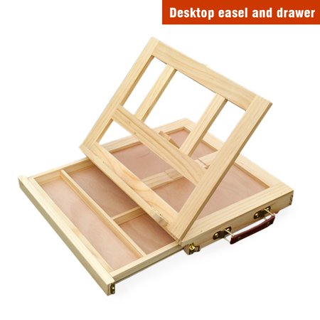 Mont Marte Table Easel Mulfunctional with Drawer Adjustable Canvas Box Easel Foldable Support for Artists Painting and Drawing - Pine