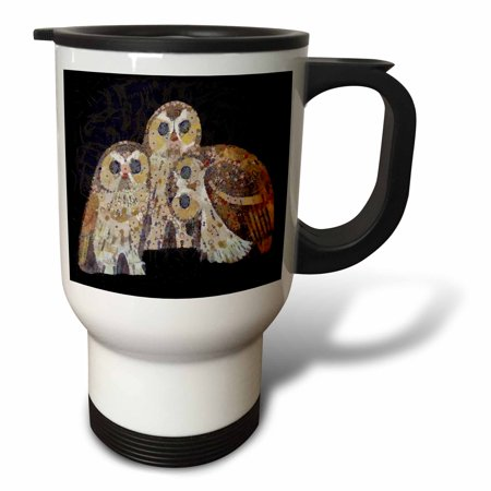 3dRose Three Owls Three owls painted in an art nouveau style with quirky poses, Travel Mug, 14oz, Stainless Steel
