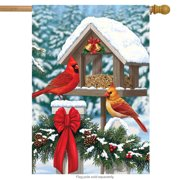 "Cardinals Christmas Feast House Flag Holiday Briarwood Lane 28"" x 40"""