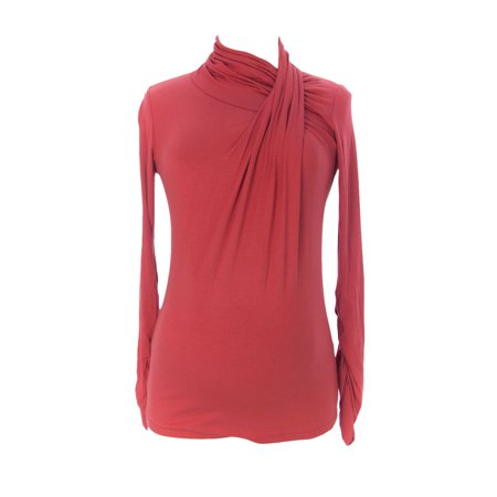 9Fashion Maternity Womens Vanda Turtleneck Blouse  Small  Red