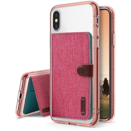 Apple Iphone X Phone Case  Iphone 10 Case  Value Accessory Kit  Ringke Fusion Crystal Clear  Free Flip Card Holder  Ergonomic Transparent Pc Back Tpu Bumper Drop Protection   Rose Gold   Deep Pink