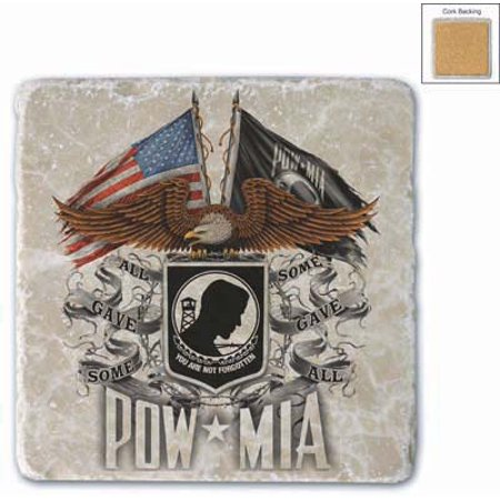 Patriotic Double Flag Eagle Pow Set Of 4 Natural Stone Coasters