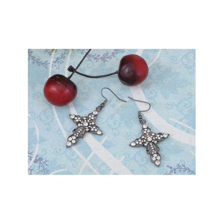 Victorian Design Silver Tone Crystal Rhinestone Holy Cross Dangle Drop - Crystal Cross Dangle