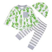 Everpert 3pcs/Set Autumn Baby Sweet Cactus Long Sleeve T-shirt Pants Hat / 18-24M-225129.05
