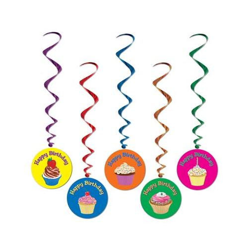 Pack of 30 Assorted Happy Birthday Cupcake Metallic Hanging Party Decoration Whirls 40""